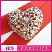 heart shape AB rhinestone brooch, free shipping, AB color rhinestone brooch for wedding bouquet