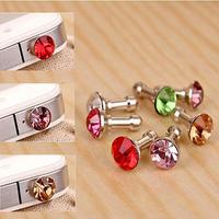 Christmas Gift Popular3.5mm Diamond ANTI DUST HEADPHONE JACK PLUG FOR IPHONE 4 4G 4S 3G 3GS
