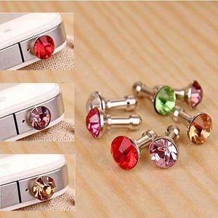 Christmas Gift Popular3.5mm Diamond ANTI DUST HEADPHONE JACK PLUG FOR IPHONE 4 4G 4S 3G 3GS(China (Mainland))
