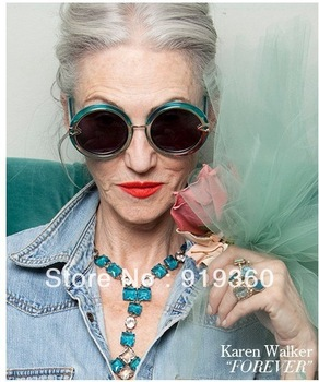 spring and summer of 2013 new karen walker ORBIT 1301489 round box jelly blue sunglasses,free shipping