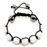 Christmas Gift (Minimum $ 5) Disco Magnetite Ball Beads Macrame Crystal Shamballa Bracelet XMAS Gift Jewelry Color: White