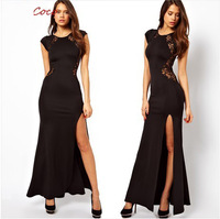 free shipping sexy  slim hip racerback side vent lace patchwork short-sleeve dress women black asymmetrical floor length dress