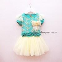 2013 summer female child flower lace decoration short-sleeve dress princess dress