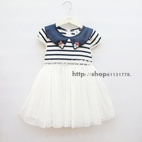2013 summer female child 100% cotton stripe short-sleeve peter pan collar lace decoration princess one-piece dress