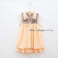 2013 summer female child shirt collar yarn doll chiffon shirt