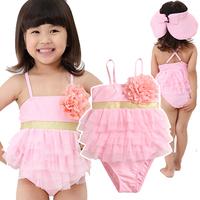 Free shipping Beautiful child swimwear baby big red flower one piece girl swimwear child swimwear baby girls beachwear