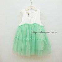 2013 summer female child sleeveless tulle dress one-piece dress