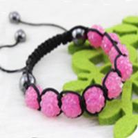 Christmas Gift (Minimum Order $ 5) 00020Disco Magnetite Ball Beads Macrame Crystal Shamballa Bracelet XMAS Gift Jewelry Pink