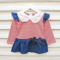 Children 2013 spring female child stripe long-sleeve denim one-piece dress skirt suit