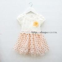 2013 summer female child lace decoration dot tulle dress princess dress one-piece dress