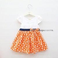 2013 summer female child 100% cotton lace decoration sparkling diamond dot bow short-sleeve dress