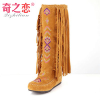 FreeShipping 2013 Women  Autumn Winter casual tassel boots ,Flat boots Black/red/yellow/black