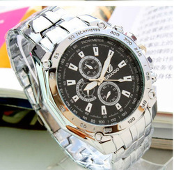 Free shipping promotional fashion alloy Stainless luxury steel jewelry Wristwatch diamond men's watch Discount For Father's Day(China (Mainland))