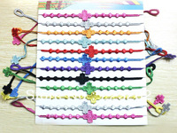 2013 Newest  24pcs/lot Free shipping wholesale fashion cross Head shaped Italy  lace bracelet mix colors each doz  BR007