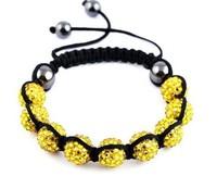 Christmas Gift (Minimum $ 5) 00023Disco Magnetite Ball Beads Macrame Crystal Shamballa Bracelet XMAS Gift Jewelry Color: Yellow