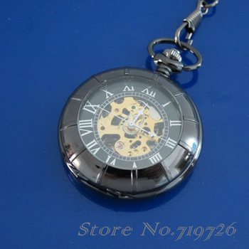 2 PCS/Lot Free Shipping Black Mechanical see through MEN POCKET WATCH CHAIN LH00142