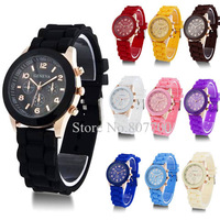 (10 Colors) Geneva New Style Watch Jelly Watch Three circles Display Silicone Strap Candy Color Unisex Wristwatch. FREE SHIPPING