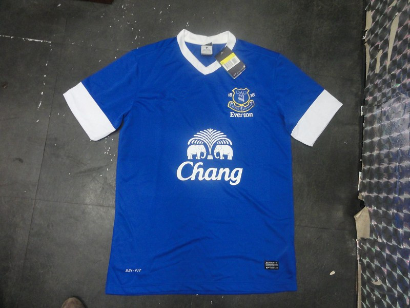 Free shipping 13-14 Everton home Thailand quality Soccer uniform Football clothes Jersey 100% Embroidered LOGO(China (Mainland))
