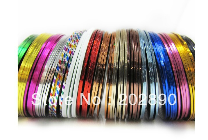 29 Mix Nail art Color Rolls Striping Tape Metallic Yarn Line Foil Decoration Sticker tips Free Shipping(China (Mainland))