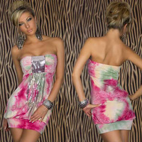 free shipping! 2013 New arriveals fashion Sexy Lady mixed color sequined dresses contrast pink color clubwear nighty chemise