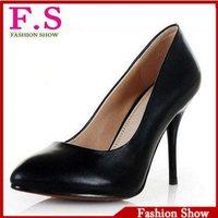 Big size 34 - 43 100% Genuine Leather Pumps Work Office Dress High Heels Shoes for Women 2013 Platform Red Bottoms Pumps HH355