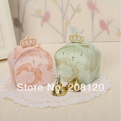 Special Price Wholesale 100pcs 2 Colors Crown Wedding Favor Candy Boxes Party Gifts Packing Paper Chocolate Package New(China (Mainland))