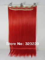 "Wholesale Women Long Hair 24"" Ponytails Straight Hair Extension 6 Clips-on 130g #Red"