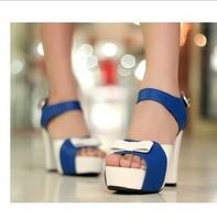 Hot-selling fashion increased fashion wedges platform bow decoration female thick heel platform sandals