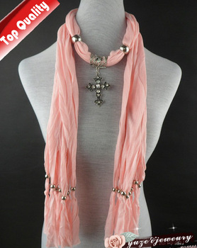 Fashion Cross Pendant Jewellery Scarf Necklace jewelry pendant scarves Pink Color & Mix Colors Yz1060