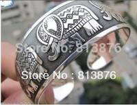 New Tibetan Tibet Silver Totem Bangle Cuff Bracelet XY