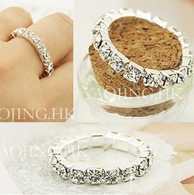 5pcs/1Lot 2014 Korean Bright Silver Plated Elastic Imitation Diamond Rings Wholesale XY-R83 17mm size(China (Mainland))