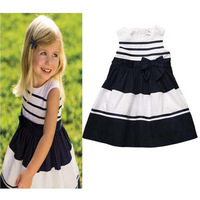 new arrival short-sleeved bow striped draped princess dress baby wedding dress kids dress 6#13050710