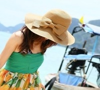 Summer sunscreen campaigners strawhat Women summer hat anti-uv sun-shading hat straw braid big beach cap