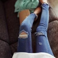 Balls trousers whisker hole slim blue jeans