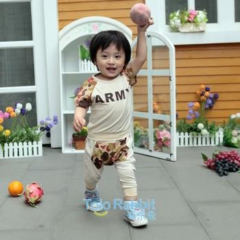 1PCS Free Shipping New Arrival  Kids Summer Clothes Set Short Sleeve T-Shirt + Pants Baby Unisex Clothing Garment Wear Cotton