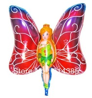 2013 new arrival  wholesale 50pcs/lot aluminum foil helium balloons butterfly girl cartoon balloon animal mylar ballon