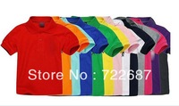 kids polo t shirt sport kids t shirt children's short sleeve pure color t-shits many colors in stock free shipping .Retail!!