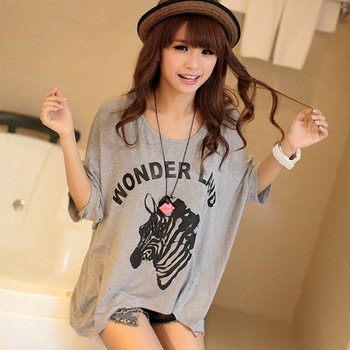 201 women's summer clothes cartoon plus size loose cute short-sleeve t-shirt mm young girl school wear