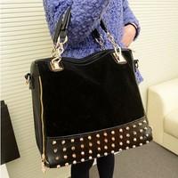 Korean Satchel Retro Matte Stitching Rivet Shoulder Bag Handbag Sac a Main Bolsas Practical Large Capacity Bag Free Shipping A82