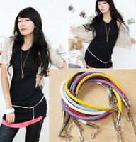 Free Shipping! Min. Order is 10USD(Can Mixed Order) Fashion candy color knitted circle belly chain multicolor thin belt