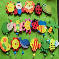 wholesale retail Cute Cartoon Wooden Animal Robe Home Wall Hanging Hook Hanger Creative Gifts Kids Nursery