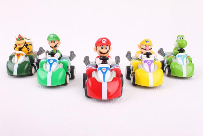 Japan Anime Game Super Mario Bros Color box packaging 5pcs/set PVC Car toys Free Shipping(China (Mainland))
