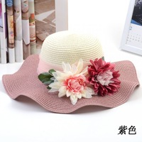 High-grade papyrus simulation flower flounced straw cap Korean sunscreen large brimmed hat big summer hats for women