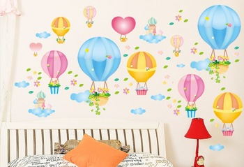 2014 NEW Eco-friendly child real tv combination wall stickers hot blue sky balloon