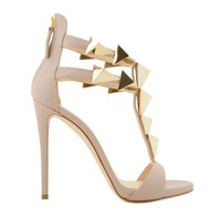 sandals 2013 women's shoes black / nude color high heels