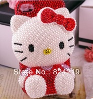 Wholesale DIY Lovely bowknot stereo for Hello kitty Diamond Crystal Cover Skin hard Back case for iphone 5G smart housing