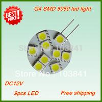 Free shipping wholesale 1.8W G4 LED bulb G4 9 led 5050 smd G4 LED 12V car light 120-150Lumen LED Marine Camper Car Bulb Lamp