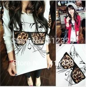 2015 NEW women lady girls fashion long sleeve leopard cat chiffon shirt blouse cat glass shirts