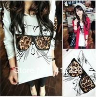 free shipping 1pcs women lady girls fashion long sleeve leopard cat chiffon shirt blouse