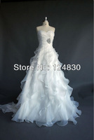 Free Shipping Custom-made High-quality Charming Organza Ruffles Sweetheart Strapless Lace Up Bridal Gown